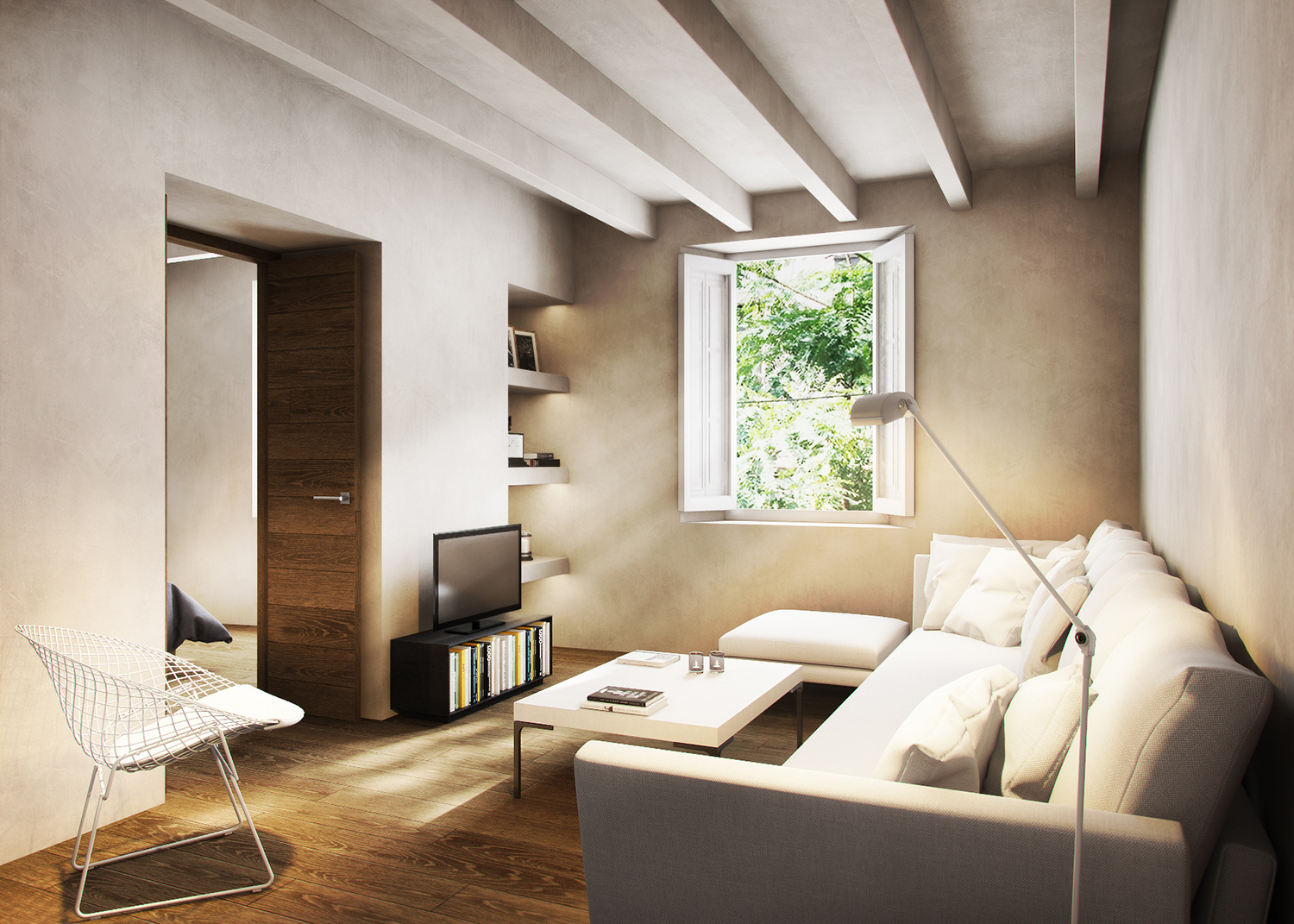 3D RENDER OF A FLAT IN BARCELONA