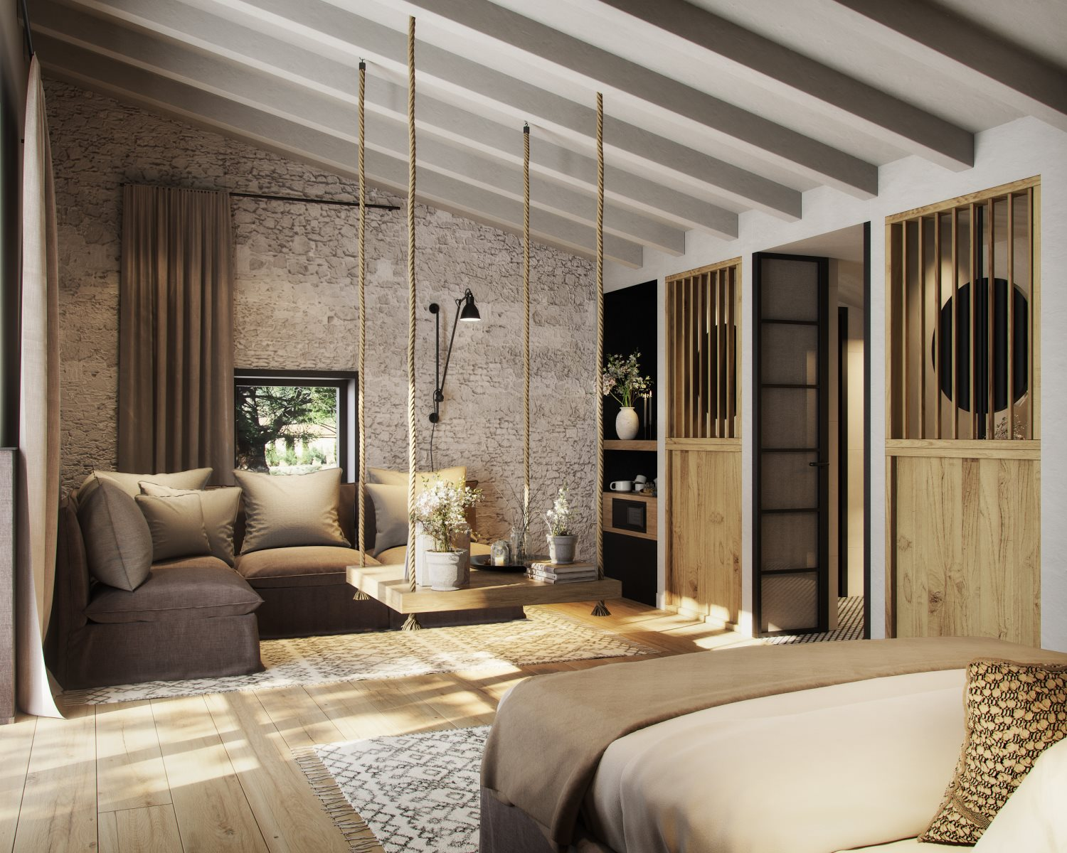 3D RENDERS OF THE STANDARD ROOM OF A RURAL HOTEL